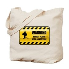 Warning Hockey Player Tote Bag