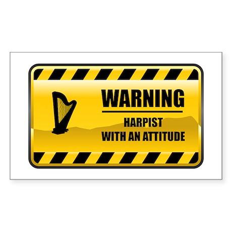 Warning Harpist Rectangle Sticker