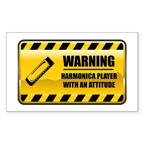 Warning Harmonica Player Rectangle Sticker