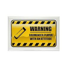 Warning Harmonica Player Rectangle Magnet