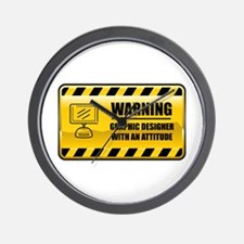 Warning Graphic Designer Wall Clock