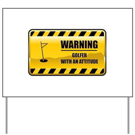 Warning Golfer Yard Sign