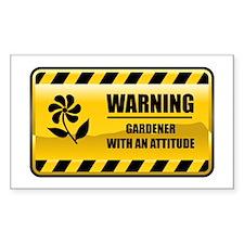 Warning Gardener Rectangle Stickers