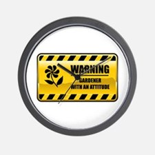Warning Gardener Wall Clock