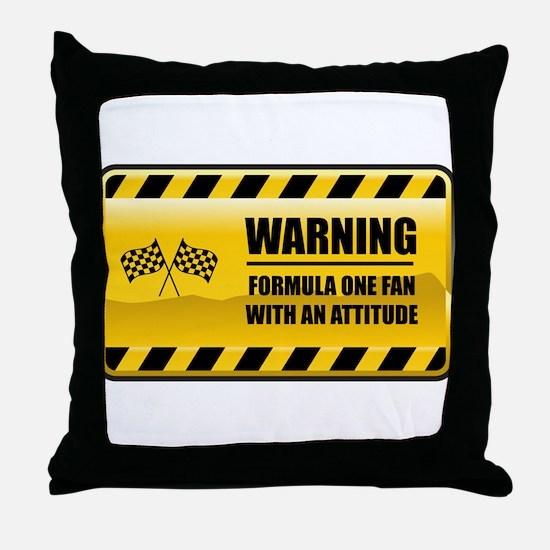 Warning Formula One Fan Throw Pillow