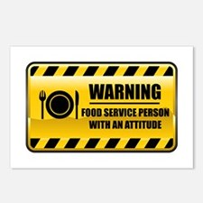 Warning Food Service Person Postcards (Package of