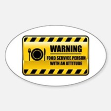 Warning Food Service Person Oval Decal
