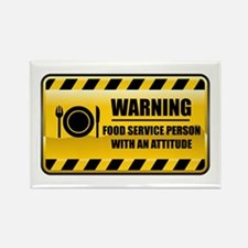 Warning Food Service Person Rectangle Magnet