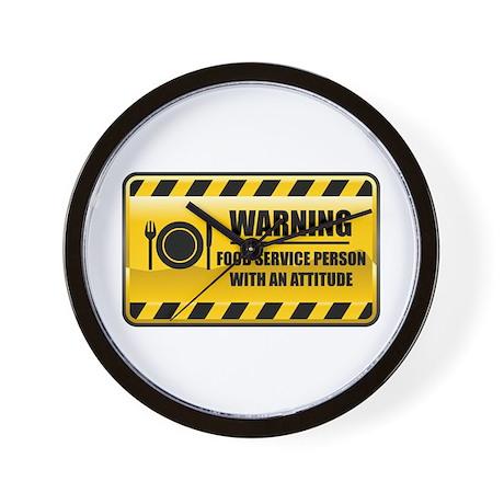 Warning Food Service Person Wall Clock