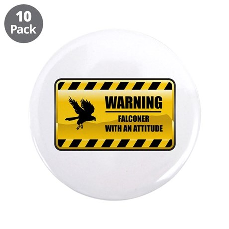 """Warning Falconer 3.5"""" Button (10 pack)"""
