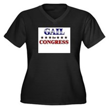 GAIL for congress Women's Plus Size V-Neck Dark T-