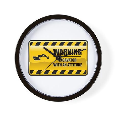 Warning Excavator Wall Clock