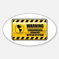 Warning Environmental Scientist Oval Decal