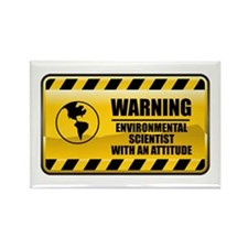 Warning Environmental Scientist Rectangle Magnet (