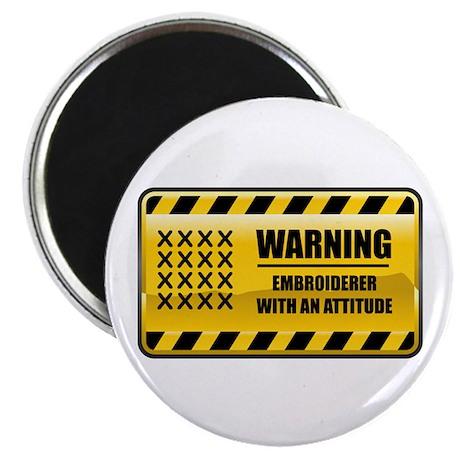 """Warning Embroiderer 2.25"""" Magnet (100 pack)"""