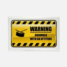 Warning Drummer Rectangle Magnet