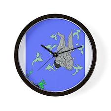 Elephant Swim Wall Clock
