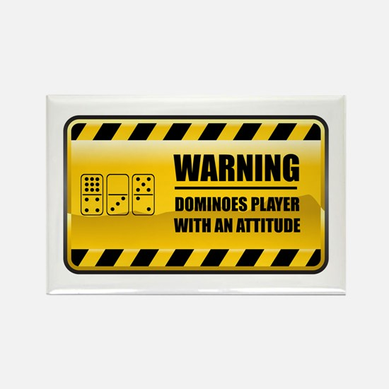 Warning Dominoes Player Rectangle Magnet