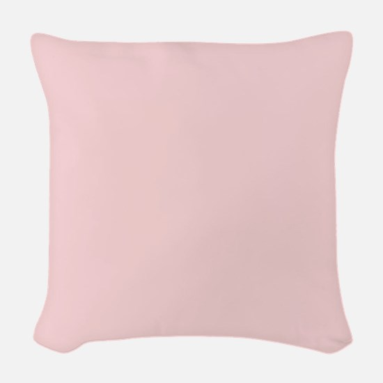 Blush Pink Solid Color Woven Throw Pillow