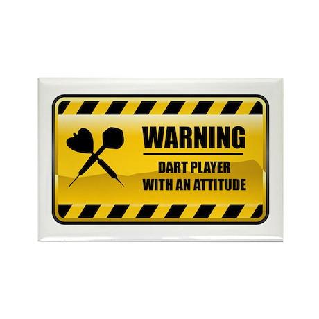 Warning Dart Player Rectangle Magnet (10 pack)