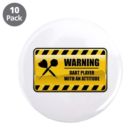 "Warning Dart Player 3.5"" Button (10 pack)"