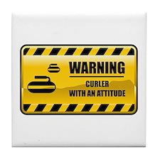 Warning Curler Tile Coaster