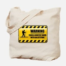 Warning Cross Country Skier Tote Bag