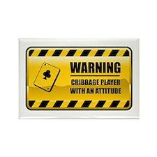 Warning Cribbage Player Rectangle Magnet