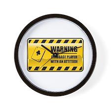 Warning Cribbage Player Wall Clock