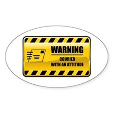 Warning Courier Oval Decal