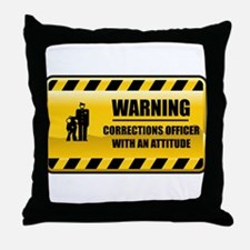 Warning Corrections Officer Throw Pillow