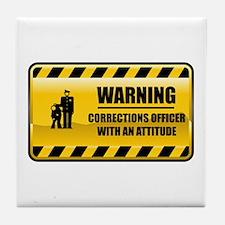 Warning Corrections Officer Tile Coaster