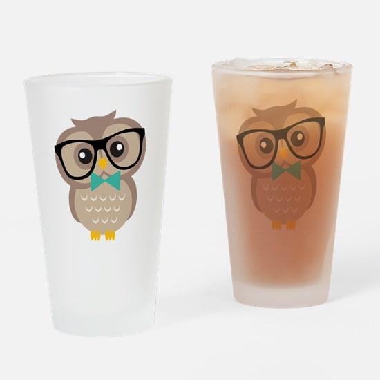 Cute Hipster Owl Drinking Glass