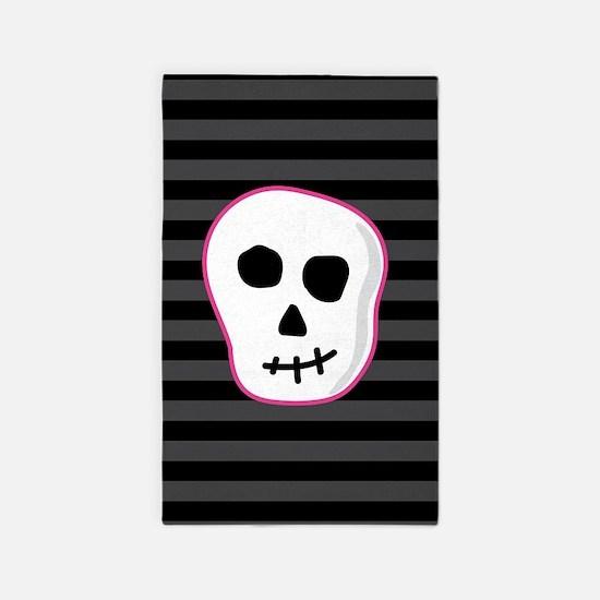 Pink Skeleton Face Stripes Area Rug