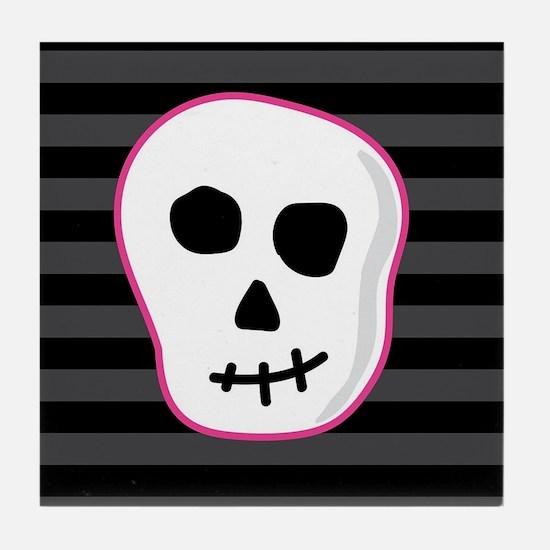 Pink Skeleton Face Stripes Tile Coaster