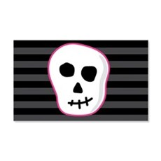 Pink Skeleton Face Stripes Wall Decal