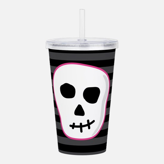 Pink Skeleton Face Str Acrylic Double-wall Tumbler