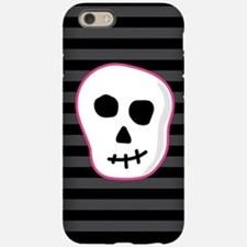 Pink Skeleton Face Stripes iPhone 6/6s Tough Case