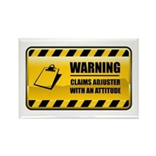 Warning Claims Adjuster Rectangle Magnet