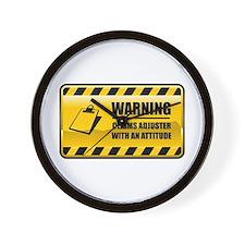 Warning Claims Adjuster Wall Clock