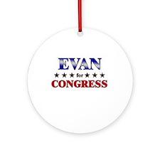 EVAN for congress Ornament (Round)