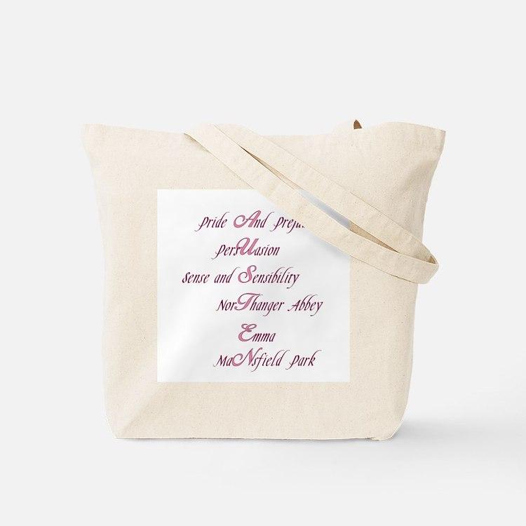 Jane Austen Novel Quote and Novels Tote Bag