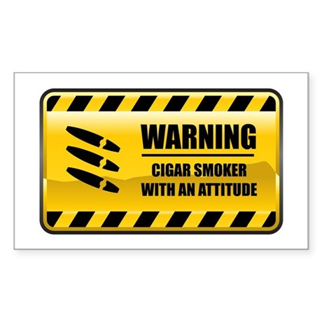 Warning Cigar Smoker Rectangle Sticker