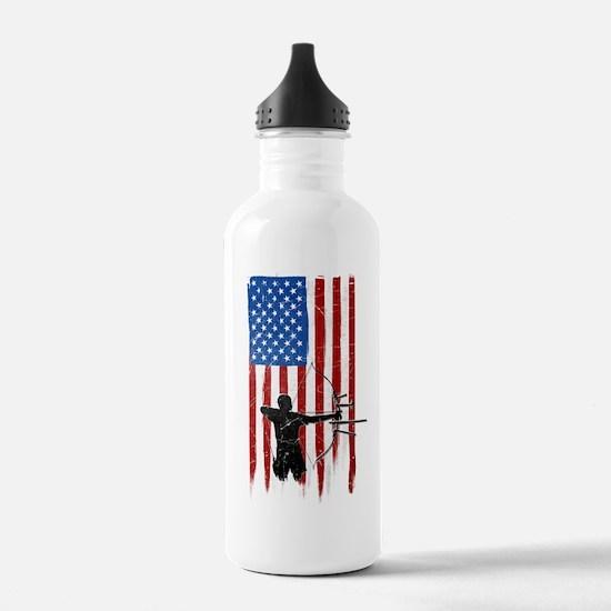 USA Flag Team Archery Water Bottle