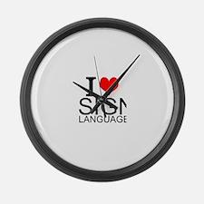 I Love Sign Language Large Wall Clock