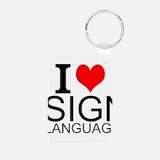 I Love Sign Language Keychains