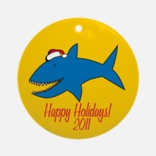 Shark Happy Holidays! Round Ornament
