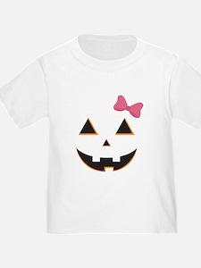 Pumpkin Face Pink Bow T