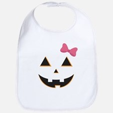 Pumpkin Face Pink Bow Bib