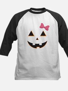 Pumpkin Face Pink Bow Tee
